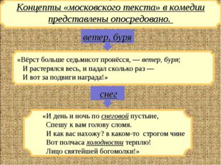 Концепты «московского текста» в комедии представлены опосредовано. «Вёрст бо