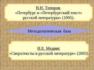 Н.Е. Меднис «Сверхтексты в русской литературе» (2003). В.Н. Топоров «Петербур