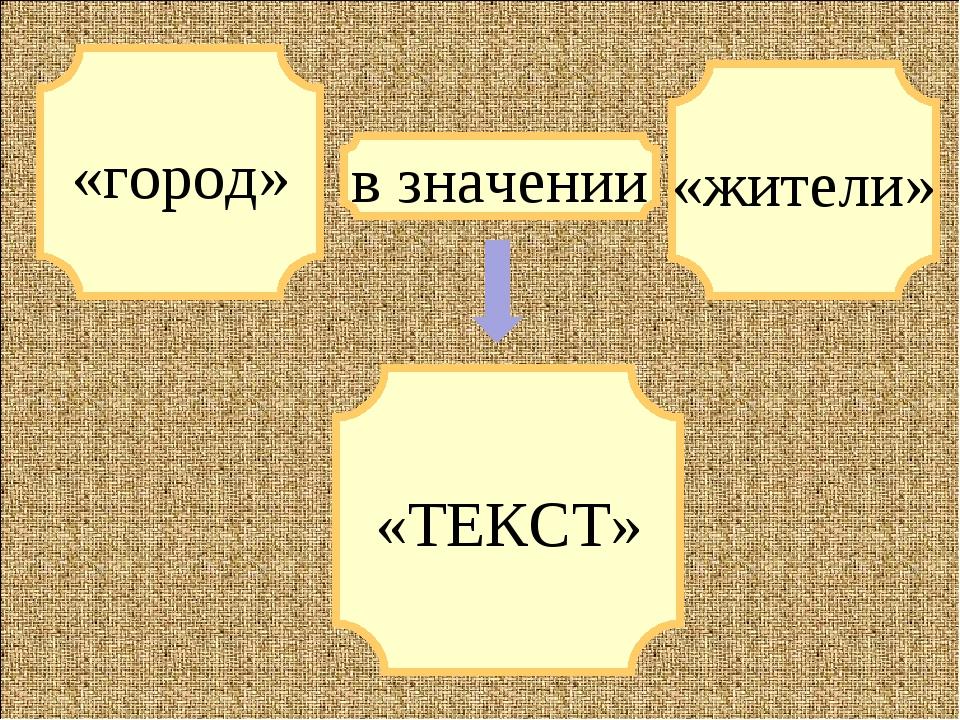 «город» «ТЕКСТ» «жители» в значении