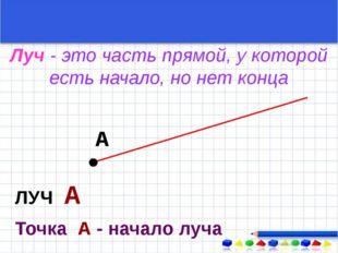 А ЛУЧ А Точка А - начало луча Луч - это часть прямой, у которой есть начало,