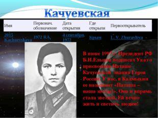 В июне 1997 г. Президент РФ Б.Н.Ельцин подписал Указ о присвоении Наташе Качу