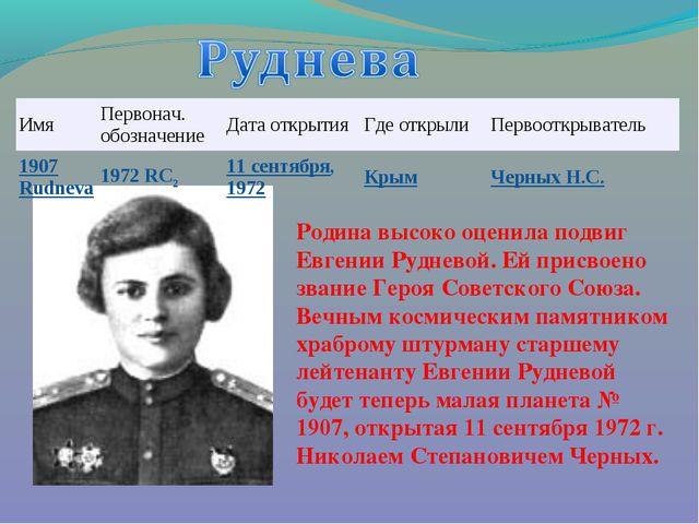 Родина высоко оценила подвиг Евгении Рудневой. Ей присвоено звание Героя Сове...