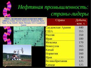 Нефтяная промышленность: страны-лидеры ОПЕК – организация стран-экспортеров н