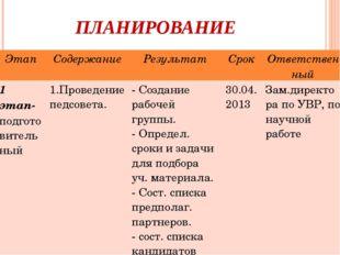 ПЛАНИРОВАНИЕ ЭтапСодержаниеРезультатСрокОтветственный 1 этап-подготовител