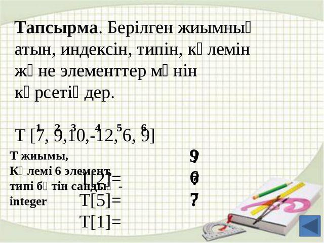 Мысалы: var А: array [1..10] of integer; С:array [0..6] of сhar; Е:array [1....
