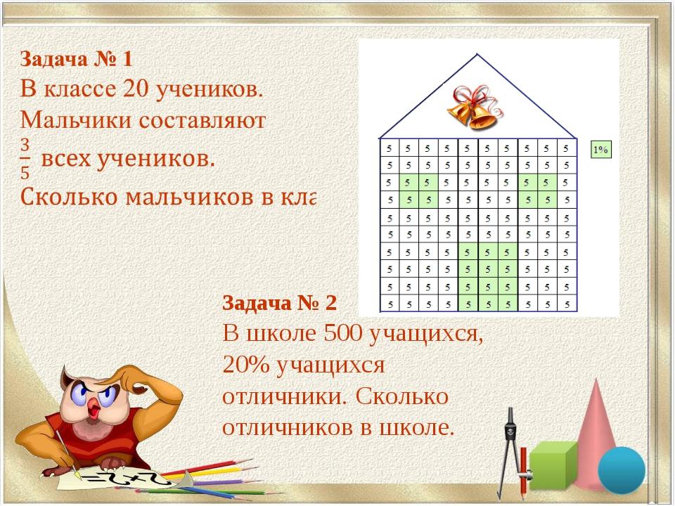 Задача № 2 В школе 500 учащихся, 20% учащихся отличники. Сколько отличников в...
