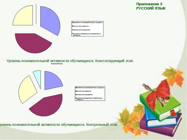 Приложение 3 РУССКИЙ ЯЗЫК Уровень познавательной активности обучающихся. Конс...