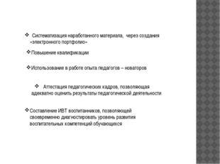 Систематизация наработанного материала, через создания «электронного портфол