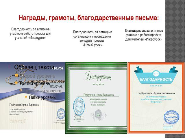 Награды, грамоты, благодарственные письма: Благодарность за активное участие...