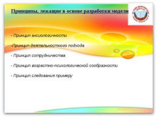 - Принцип аксиологичности -Принцип деятельностного подхода - Принцип сотрудни