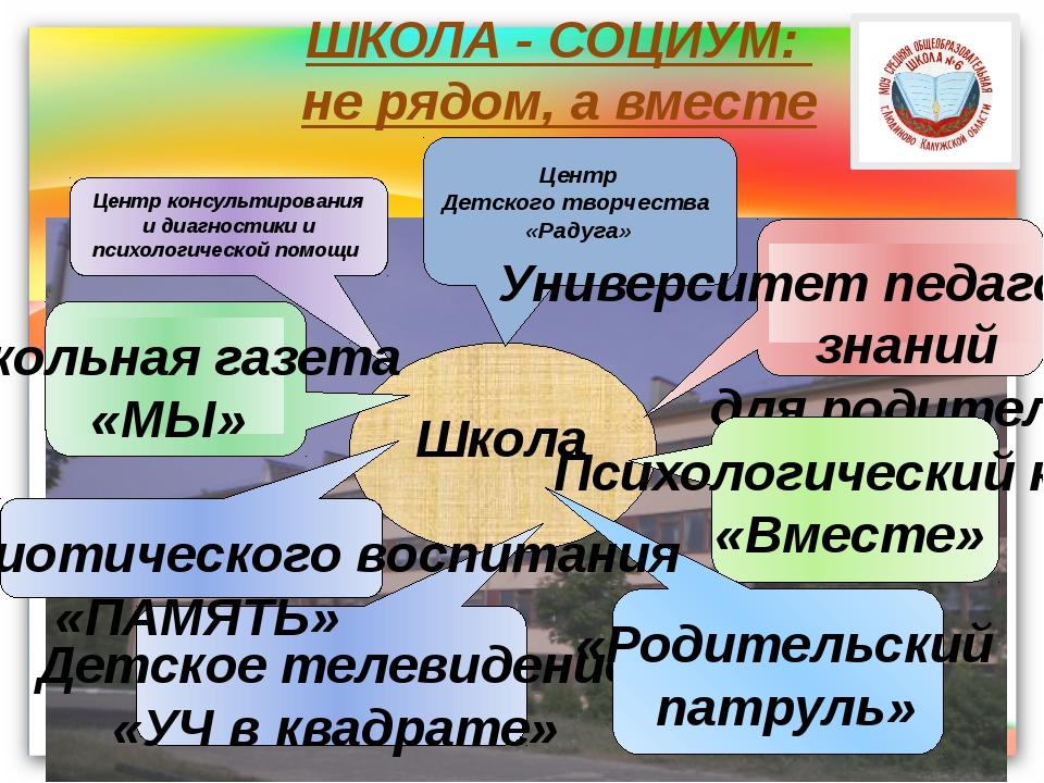 ШКОЛА - СОЦИУМ: не рядом, а вместе Школа Центр консультирования и диагностики...