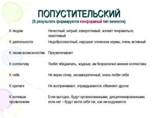 ПОПУСТИТЕЛЬСКИЙ (В результате формируется конформный тип личности) К людямНе