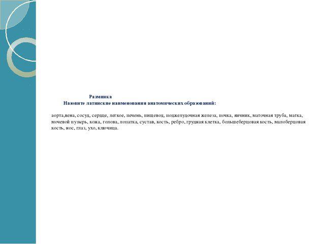 Разминка Назовите латинские наименования анатомических образований: аорта,ве...