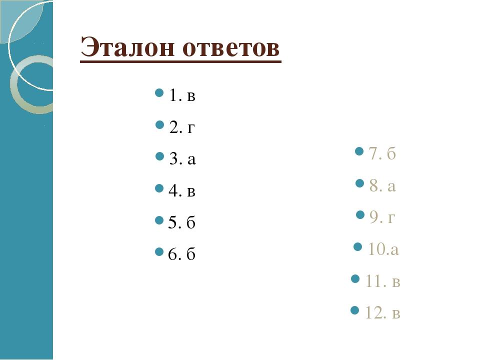 Эталон ответов 1. в 2. г 3. а 4. в 5. б 6. б 7. б 8. а 9. г 10.а 11. в 12. в