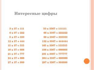 Интересные цифры  3 х 37 = 111 33 х 3367 = 111111 6 х 37 = 222 66 х 3367 =