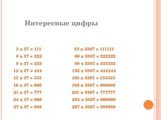 Интересные цифры  3 х 37 = 111 33 х 3367 = 111111 6 х 37 = 222 66 х 3367 =...