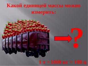 Какой единицей массы можно измерить: ? 1 т = 1000 кг = 100 ц