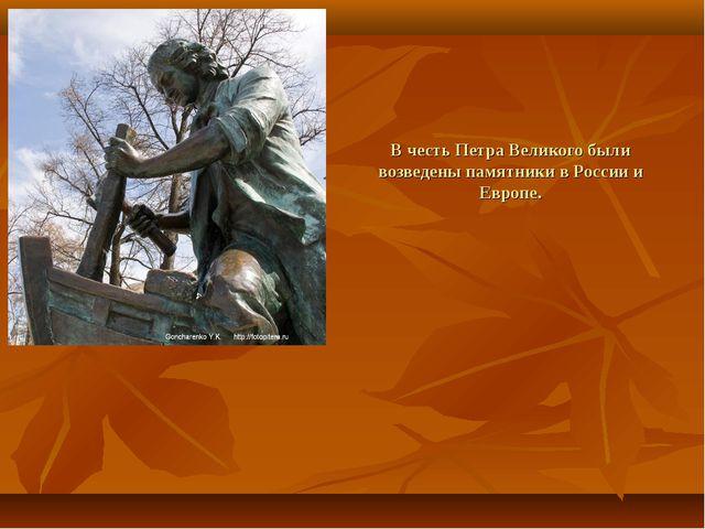 В честь Петра Великого были возведены памятники в России и Европе.