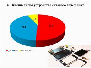 6. Знаешь ли ты устройство сотового телефона?