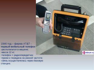 1946 год – фирма AT&T - первый мобильный телефон располагался в машине; масса