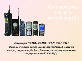 Сотовая связь первого поколения(1G) Стандарт CDMA, TDMA, iDEN, PDS, PHS Данны