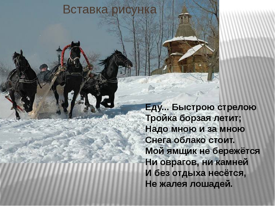 Еду... Быстрою стрелою Тройка борзая летит; Надо мною и за мною Снега облако...
