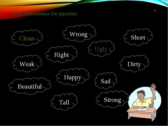 Draw lines between the opposites: * Clean Ugly Dirty Wrong Strong Happy Beau...