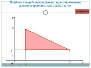 Найдите площадь треугольника , вершины которого имеют координаты (2;2), (10;2