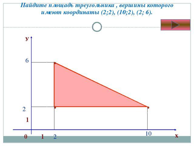 Найдите площадь треугольника , вершины которого имеют координаты (2;2), (10;2...