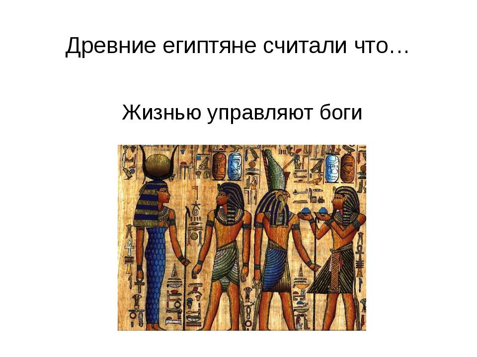 Древние египтяне считали что… Жизнью управляют боги