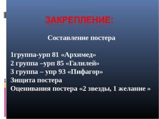 Составление постера 1группа-урп 81 «Архимед» 2 группа –урп 85 «Галилей» 3 гру