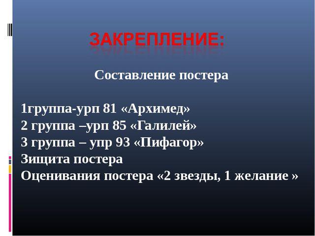Составление постера 1группа-урп 81 «Архимед» 2 группа –урп 85 «Галилей» 3 гру...