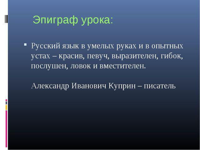 Эпиграф урока: Русский язык в умелых руках и в опытных устах – красив, певуч,...