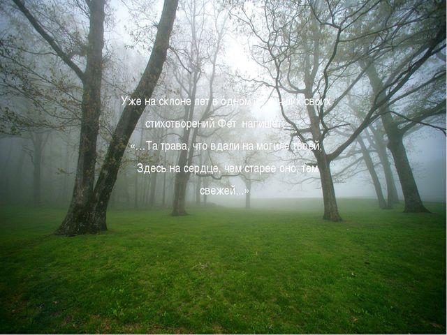 Уже на склоне лет в одном из лучших своих стихотворений Фет напишет: «…Та тра...