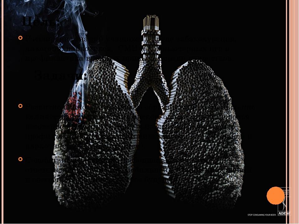 Цель: Расширение знаний учащихся о вреде табакокурения, алкоголя, наркотиков...