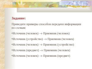 Задание: Приведите примеры способов передачи информации по схемам: Источник (
