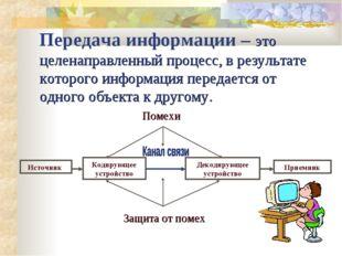 Передача информации – это целенаправленный процесс, в результате которого инф
