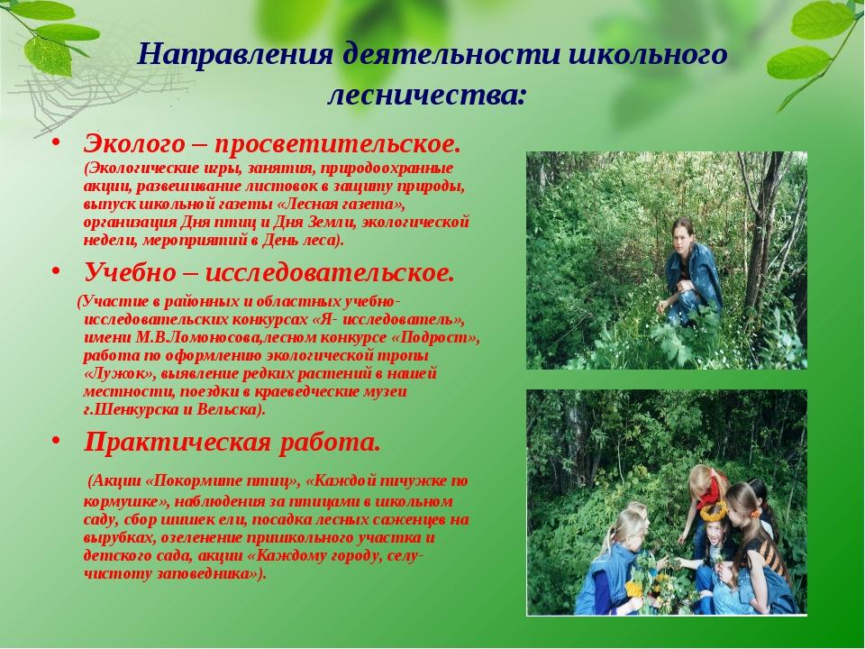 Направления деятельности школьного лесничества: Эколого – просветительское. (...