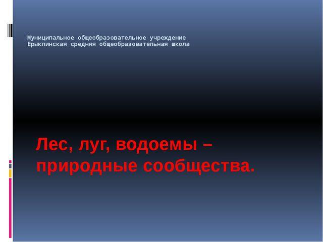 Муниципальное общеобразовательное учреждение Ерыклинская средняя общеобразова...