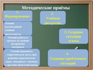 Методические приёмы 1. Формирование: Умений применять теоретическую часть при