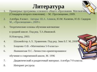 Примерные программы основного общего образования. Математика. (Стандарты втор
