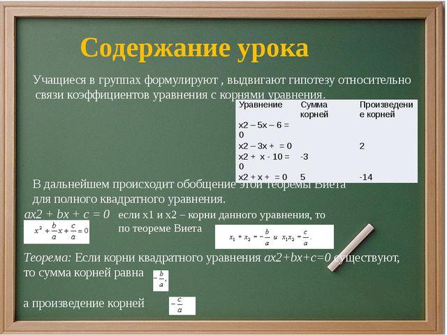 Учащиеся в группах формулируют , выдвигают гипотезу относительно связи коэффи...
