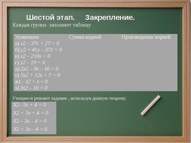 Шестой этап. Закрепление. Каждая группа заполняет таблицу Учащиеся решают з...