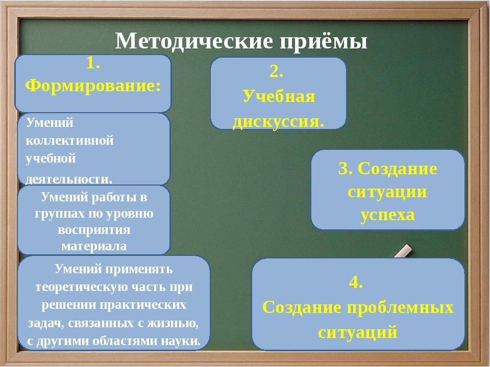 Методические приёмы 1. Формирование: Умений применять теоретическую часть при...