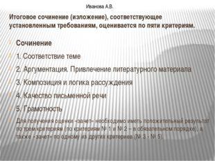 Итоговое сочинение (изложение), соответствующее установленным требованиям, оц
