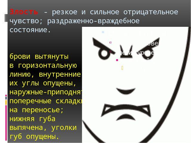 Злость - резкое и сильное отрицательное чувство; раздраженно-враждебное состо...