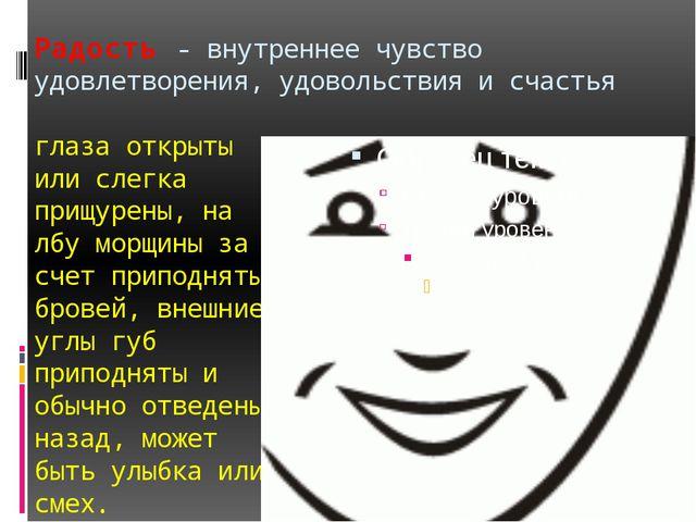 Радость - внутреннее чувство удовлетворения, удовольствия и счастья глаза отк...