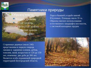 Памятники природы Парк в бывшей усадьбе князей Юсуповых. Площадь около 35 га.