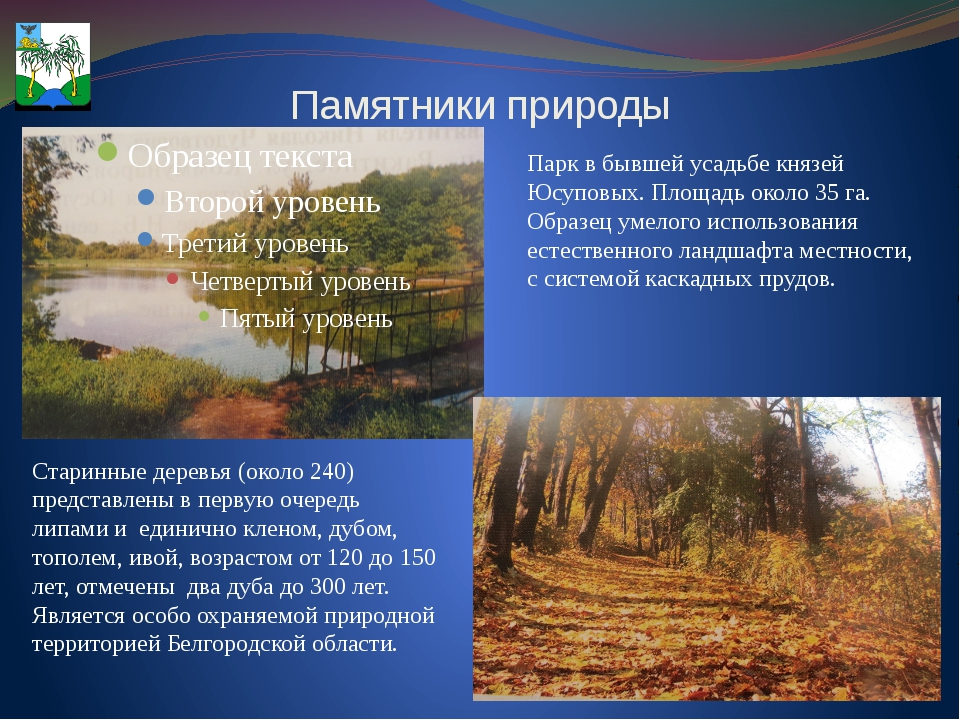 Памятники природы Парк в бывшей усадьбе князей Юсуповых. Площадь около 35 га....
