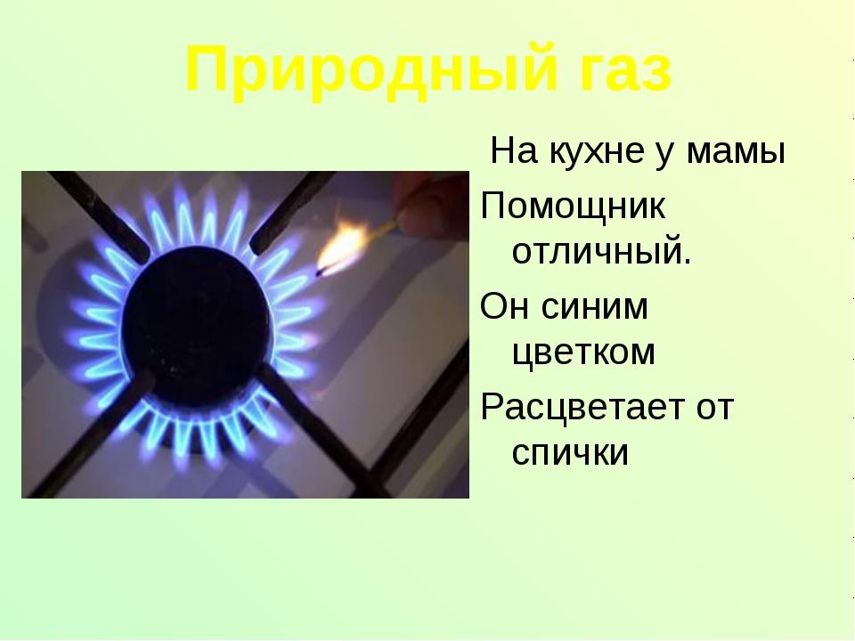 Природный газ На кухне у мамы Помощник отличный. Он синим цветком Расцветает...